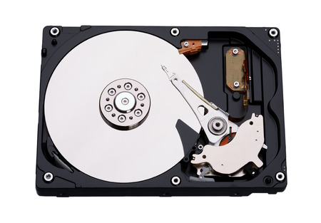 harddrive: Real open hard drive isolated on white background.