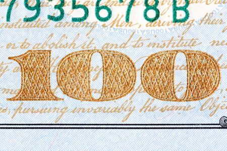 one hundred dollar bill: Detail of the newly design U.S. one hundred dollar bill. Stock Photo