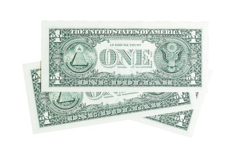 cuenta: Composición de los billetes de un dólar aislado en blanco.