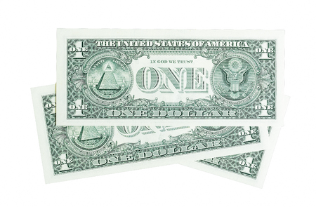 us dollar: Composition from one dollar bills isolated on white.