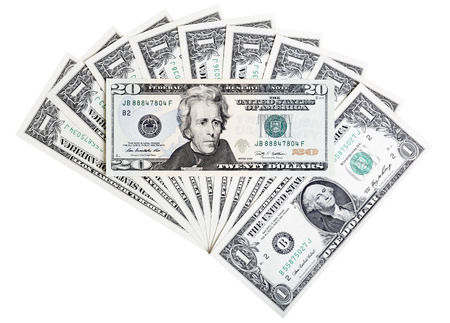 cuenta: Veinte billetes de d�lares de Estados Unidos, resumen de antecedentes. Foto de archivo