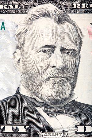 fifty dollar bill: Ulysses S. Grant on the fifty dollar bill. Stock Photo