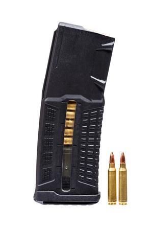 m16 ammo: Rifle magazine neat two bulets isolatet on white.
