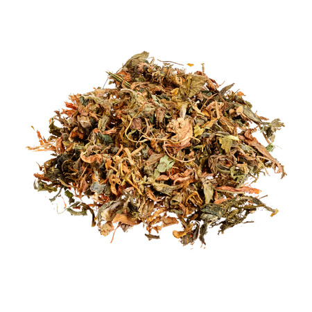 flavorings: Dry Alfalfa (Medicago sativa) isolated on white.