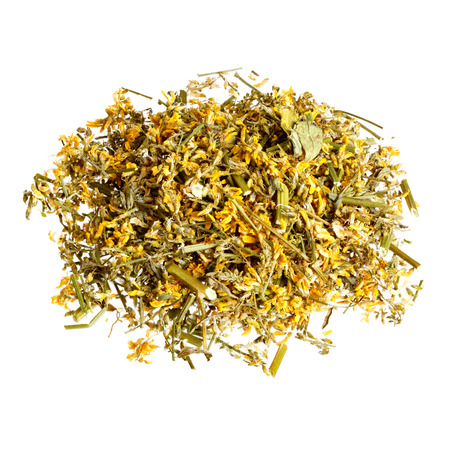 herba: Dried Melilotus officinalis (Yellow Sweet Clower) isolated on white. Stock Photo