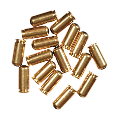 9mm ammo: 9mm bullets isolated on white.