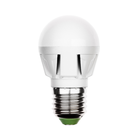 e27: Small energy saving LED light bulb (lamp) with e27 socket isolated on a white Stock Photo