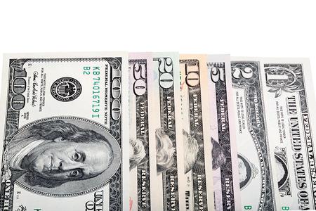 twenty two: All U.S. dollar money banknotes isolated, stacked photo. Stock Photo