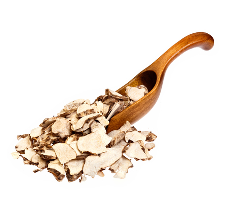 angelica sinensis: Dioscorea caucasica (Angelica sinensis or Female Ginseng) on wooden spoon.