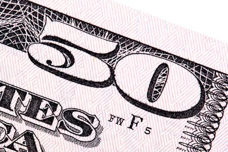 fifty dollar bill: American money, fifty dollar bill close-up shot.