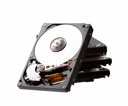 disco duro: Hard drive isolated on white background. Data recovery concept. Foto de archivo