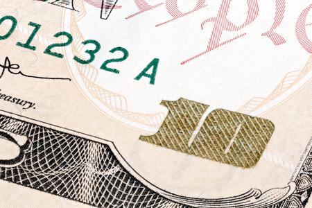 extreme macro: Detail of 10 dollars bill. Extreme macro shot.