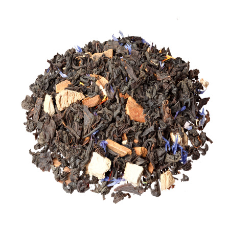theine: Tea mix of cubes of dried ginger, safflower and cornflower petals, cinnamon. Stock Photo
