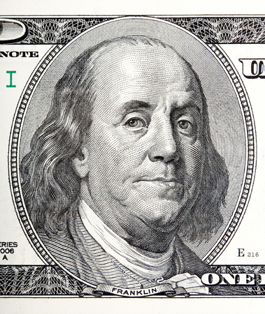 benjamin: Portrait of Benjamin Franklin macro from 100 dollars bill