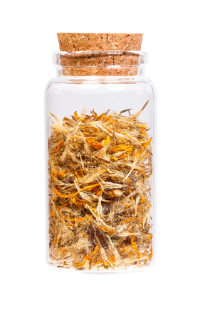 arnica: Mountain arnica in a bottle with cork   for medical use.