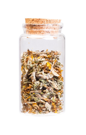 herba: Genistae herba in a bottle with cork   for medical use.
