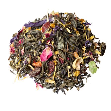 invigorating: Invigorating Green Tea pineapple pieces, rosehip, slices of apple, cherry, strawberry, marigold petals and roses. Stock Photo