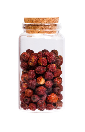 laevigata: Crataegus Aestivalis berries in a bottle with cork for medical use.