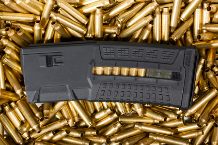 Ammunition and magazine background. Reklamní fotografie