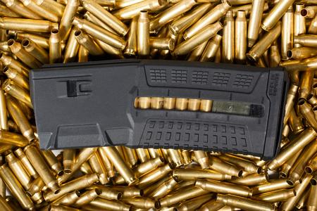 m16 ammo: Ammunition and magazine background. Stock Photo