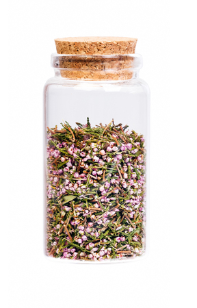 nontraditional: Heather blossom tea in a bottle with cork .