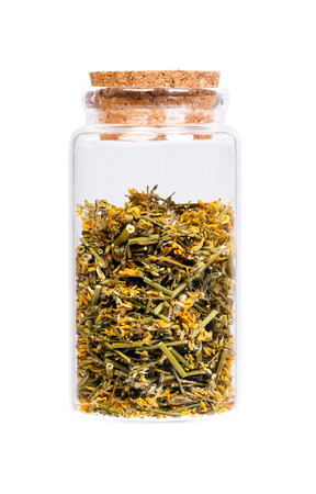 herba: Dried Melilotus officinalis (Yellow Sweet Clower) in a bottle with cork stopper for medical use.
