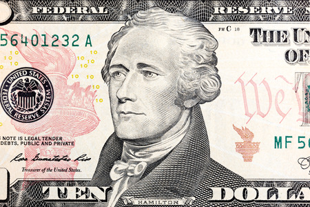 New ten dollar bill released for circulation in march 2006 in macro.