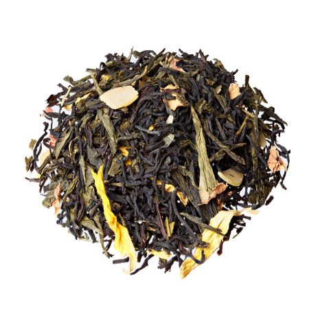 sencha: Autumn extravaganza tea. Mix of Ceylon black tea, Sencha, sunflower, rose, almond flakes.