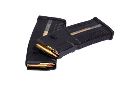 m16 ammo: Two rifle magazins with bullets.