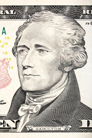 alexander hamilton: Alexander Hamilton ritratto da dieci dollari di legge del primo piano.