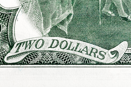 two us dollar: Two dollars - Inscription on U.S. money. Stock Photo