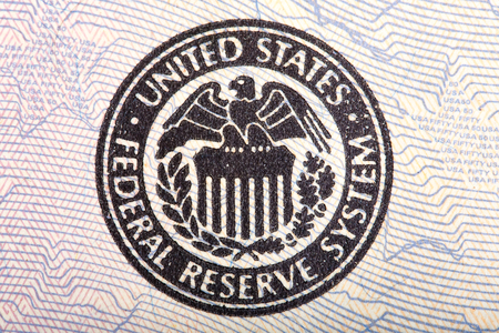 fifty dollar bill: Federal Reserve icon on a fifty dollar bill.