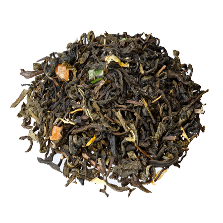 candied fruits: Mix green tea with candied fruits, petals of calendula and sunflower.