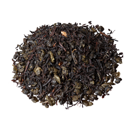 gunpowder tea: A mixture of classic black Ceylon tea and gunpowder tea with rich green apple, bergamot and sousep.