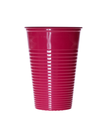 throwaway: Red Plastic cup isolated against a white background.