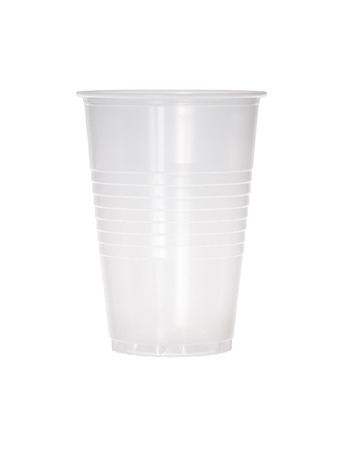 Empty transparent plastic cup isolated on white. Reklamní fotografie