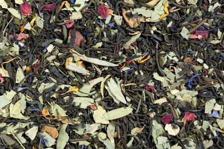 sencha tea: Tea on the basis of green Chinese Sencha tea, senna leaves, rose petals, cornflower and calendula. Stock Photo