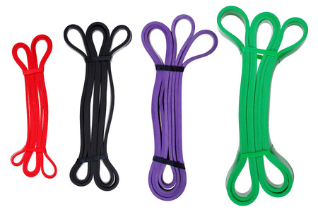 elasticidad: Set of twisted rubber bands for fitness & physical therapy.