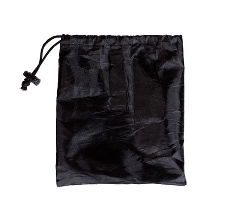 murk: Black bag isolated on white. Stock Photo