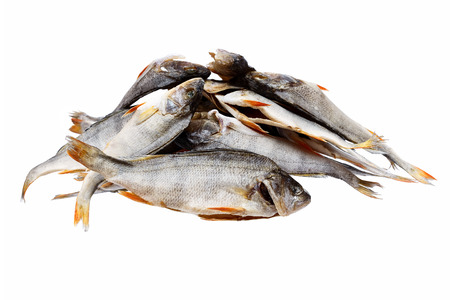 silver perch: A heap of salty dry river fish (bass, perch) isolated on white. Stock Photo