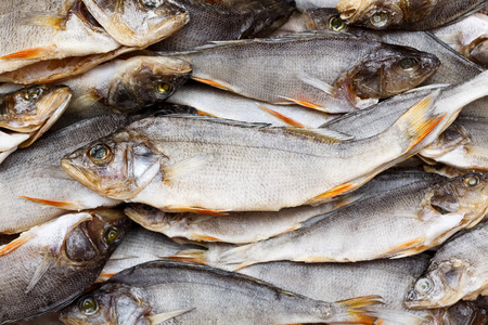 perch dried: Dried fish for becground or texture. Dry perch. Stock Photo
