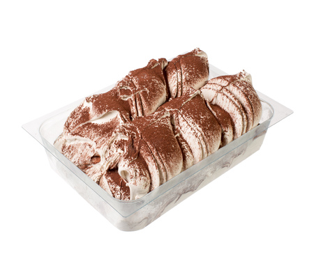 Tiramisu Italian gelato ice cream isolated on white.