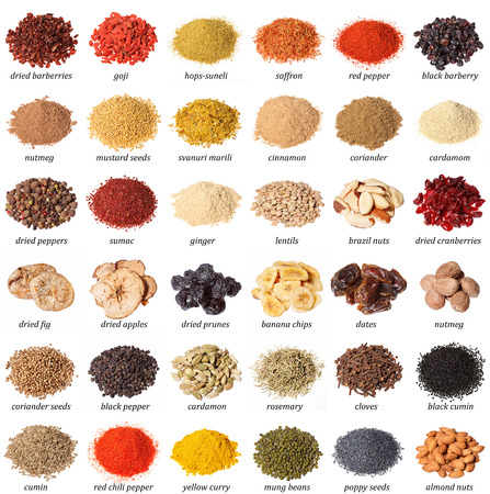 barberries: Large collection of different spices, nuts, dried fruits and herbs with labels isolated on white.