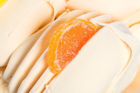fruit jelly: Orange cream with fruit jelly Stock Photo