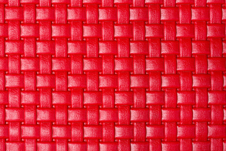 red leather texture: Braided bright red leather texture. High resolution photo. Stock Photo