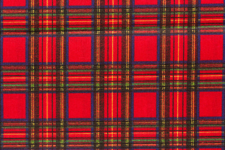 Close up of red scottish tartan. Top quality