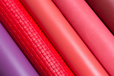 Close up of a good quality leather in various colors. Stock Photo