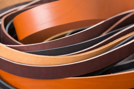 Close up of many colored leather pieces. High resolution photo. Stock Photo