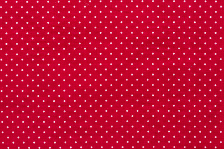 Polka dot on red canvas cotton texture, fabric background, Hi res Stock Photo