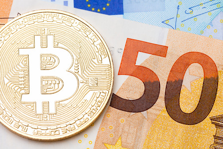 fifty euro banknote: Golden bitcoin ob fifty euro banknote. High resolution photo.